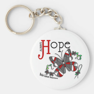 Stained Glass Butterfly Brain Cancer Basic Round Button Key Ring