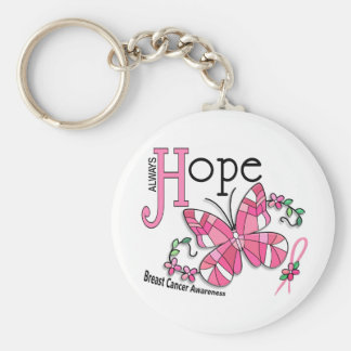 Stained Glass Butterfly Breast Cancer Basic Round Button Key Ring