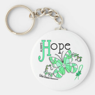 Stained Glass Butterfly Celiac Disease Basic Round Button Key Ring