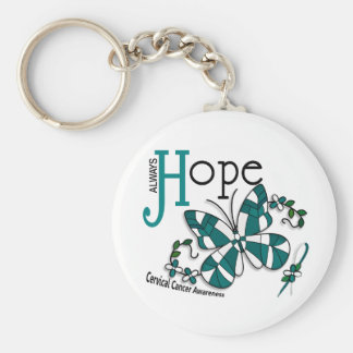 Stained Glass Butterfly Cervical Cancer Basic Round Button Key Ring