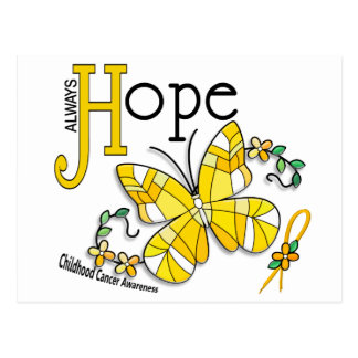 Stained Glass Butterfly Childhood Cancer Postcard