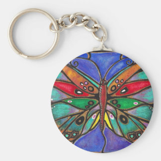 Stained Glass Butterfly--cool art to wear or give! Basic Round Button Key Ring