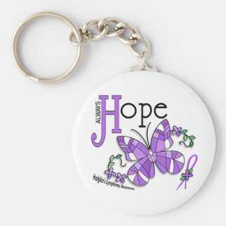 Stained Glass Butterfly Hodgkins Lymphoma Basic Round Button Key Ring