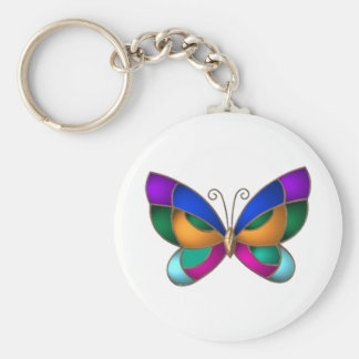 Stained Glass Butterfly Basic Round Button Key Ring