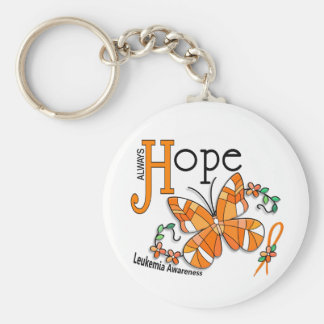 Stained Glass Butterfly Leukemia Basic Round Button Key Ring