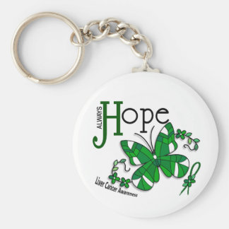 Stained Glass Butterfly Liver Cancer Basic Round Button Key Ring