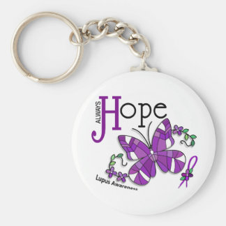 Stained Glass Butterfly Lupus Basic Round Button Key Ring
