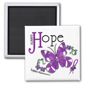 Stained Glass Butterfly Lupus Magnet