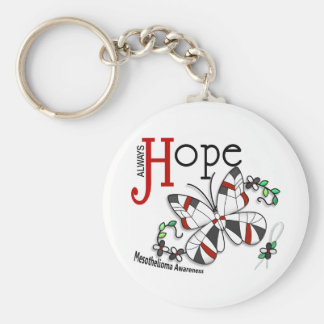Stained Glass Butterfly Mesothelioma Basic Round Button Key Ring