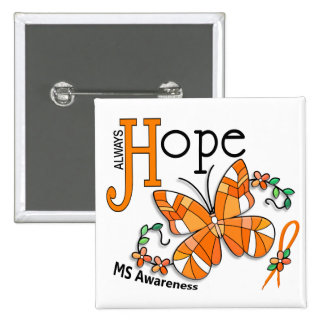 Stained Glass Butterfly MS 15 Cm Square Badge