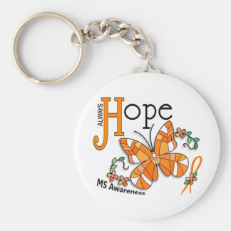 Stained Glass Butterfly MS Basic Round Button Key Ring