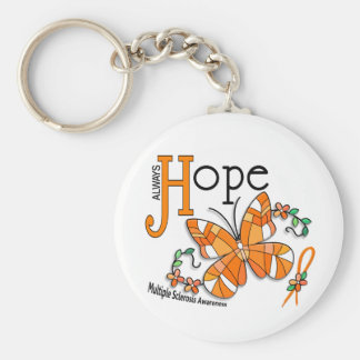 Stained Glass Butterfly Multiple Sclerosis Basic Round Button Key Ring