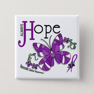 Stained Glass Butterfly Pancreatic Cancer 15 Cm Square Badge