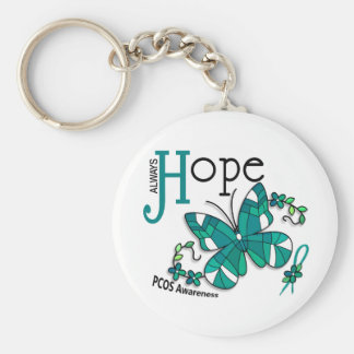 Stained Glass Butterfly PCOS Basic Round Button Key Ring