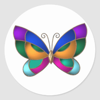 Stained Glass Butterfly Round Sticker