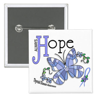 Stained Glass Butterfly Thyroid Disease 15 Cm Square Badge
