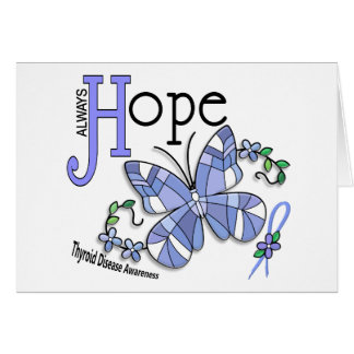 Stained Glass Butterfly Thyroid Disease Greeting Card