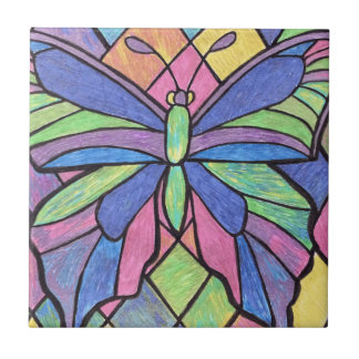 Stained Glass Butterfly Tile