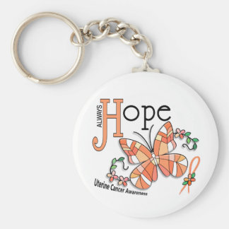 Stained Glass Butterfly Uterine Cancer Basic Round Button Key Ring