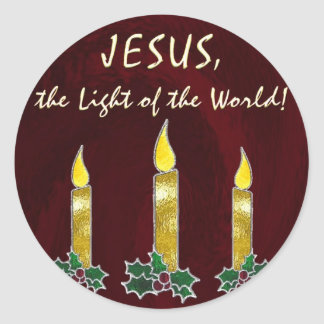 Stained glass candles round sticker