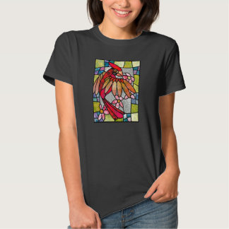 Stained glass cardinal with flowers shirt