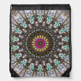 Stained Glass Cathedral Window Pattern Drawstring Bag