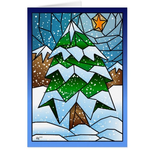 Stained glass christmas tree greeting card zazzle