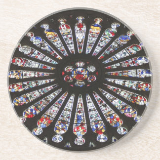 Stained-Glass Church Rose Window Coaster