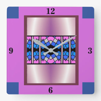 Stained Glass Clock-Home-  Pink/Blue/Mauve/Black Square Wall Clock