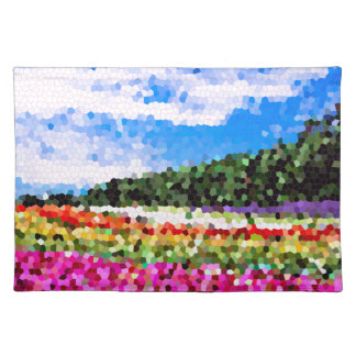 Stained Glass Colorful Flower Field Bluesky Mosaic Placemat