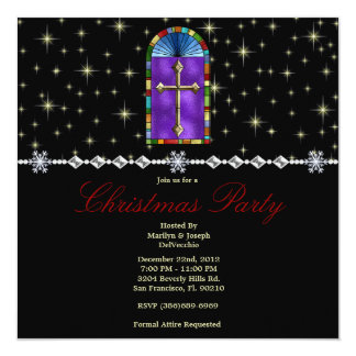 Stained Glass Cross and Stars CUTE Christmas Holid 13 Cm X 13 Cm Square Invitation Card