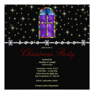 Stained Glass Cross and Stars CUTE Christmas Holid Custom Invitations