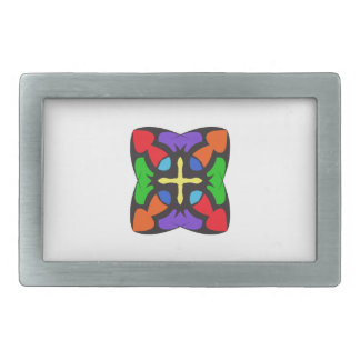 STAINED GLASS CROSS BELT BUCKLES