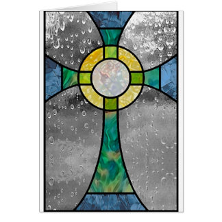 Stained glass cross card