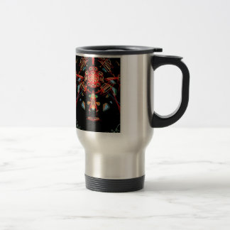 Stained glass cross in black, red and gold stainless steel travel mug