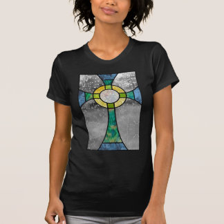 Stained glass cross tshirt
