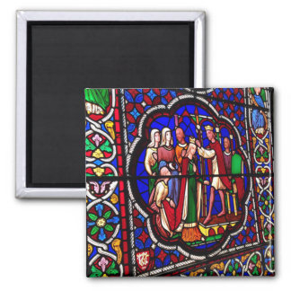 Stained Glass - Crowning of Esther Square Magnet