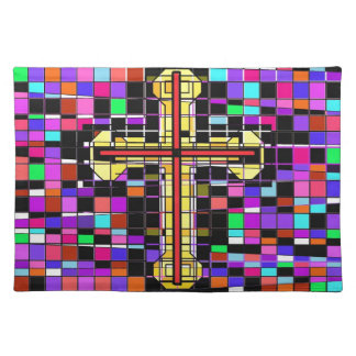 Stained Glass Crucifix. Place Mats