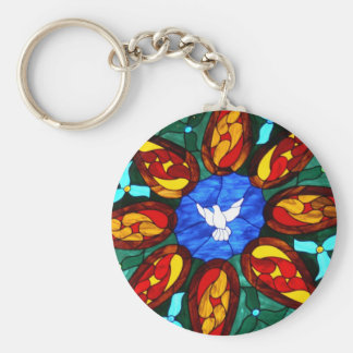 Stained Glass Dove Key Ring