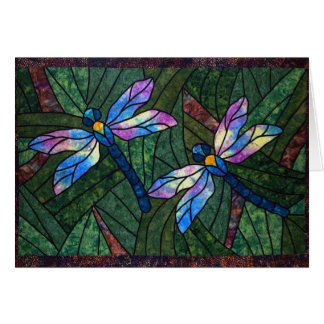 Stained Glass Dragonflies Card