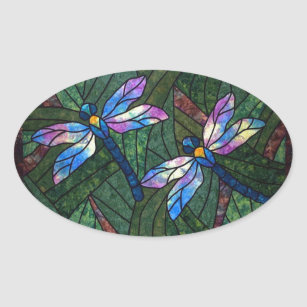 Stained Glass Dragonflies Oval Sticker