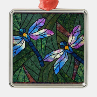Stained Glass Dragonflies Silver-Colored Square Decoration