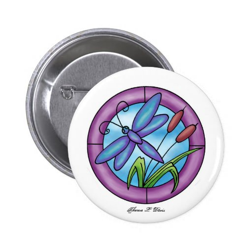 Stained Glass Dragonfly Button