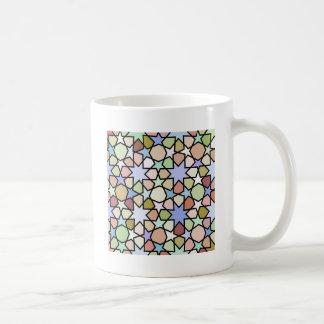 Stained Glass Earthy Hues Stars Pattern Basic White Mug