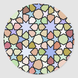 Stained Glass Earthy Hues Stars Pattern Classic Round Sticker