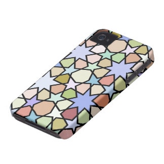 Stained Glass Earthy Hues Stars Pattern iPhone 4 Cover