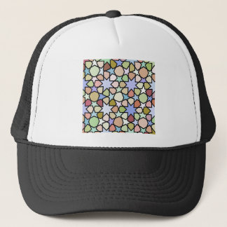 Stained Glass Earthy Hues Stars Pattern Trucker Hat