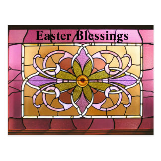 Stained Glass. Easter Blessings. Postcard