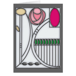 Stained Glass Effect Art Nouveau Roses Design Card