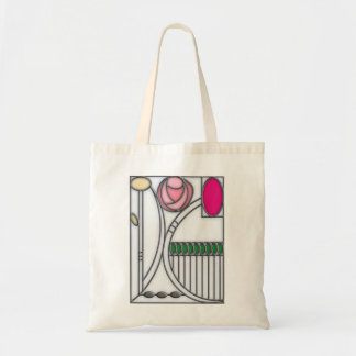 Stained Glass Effect Art Nouveau Roses Design Tote Bag